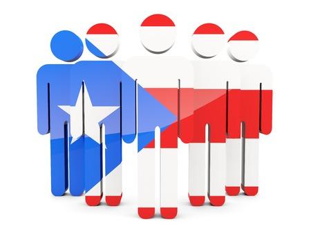 bandera de puerto rico: Las personas con la bandera de Puerto Rico aislados en blanco