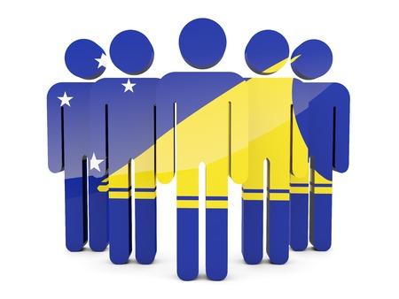 tokelau: People with flag of tokelau isolated on white