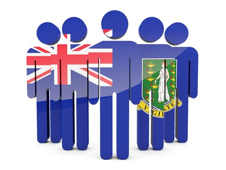 british people: People with flag of virgin islands british isolated on white