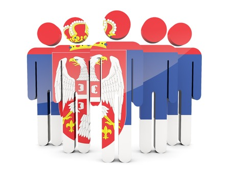 serbia: People with flag of serbia isolated on white Stock Photo