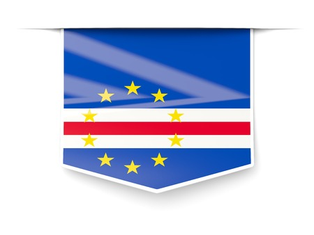 cape verde: Square label with flag of cape verde isolated on white