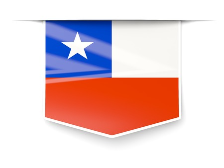 Square label with flag of chile isolated on white photo