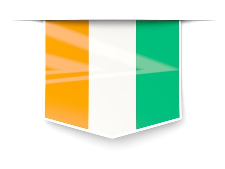 cote ivoire: Square label with flag of cote d Ivoire isolated on white