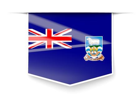 falkland: Square label with flag of falkland islands isolated on white Stock Photo