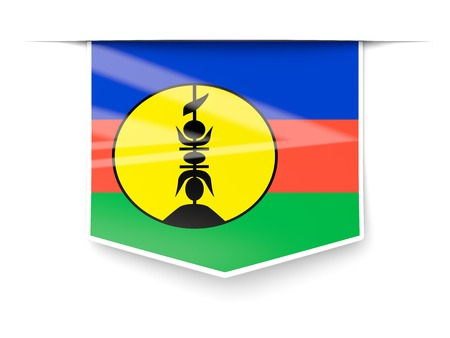 new caledonia: Square label with flag of new caledonia isolated on white Stock Photo