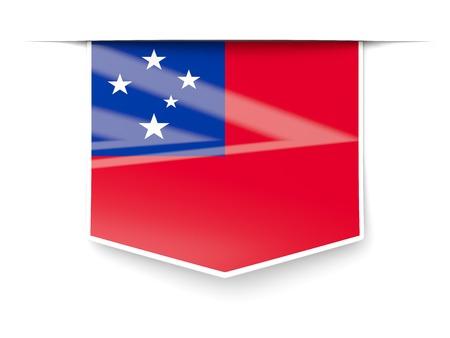 samoa: Square label with flag of samoa isolated on white Stock Photo