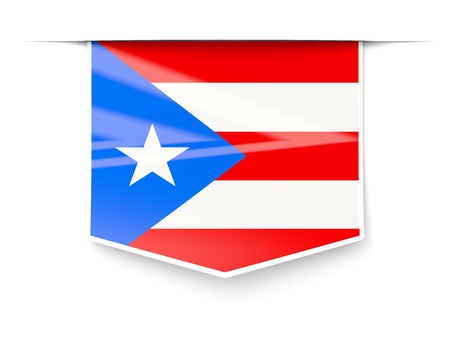 rico: Square label with flag of puerto rico isolated on white