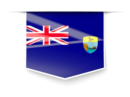 helena: Square label with flag of saint helena isolated on white Stock Photo
