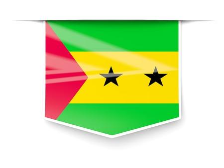 tomo: Etichetta piazza con la bandiera di Sao Tome e Principe isolato su bianco