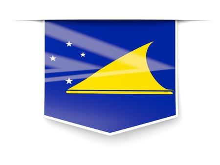 tokelau: Square label with flag of tokelau isolated on white Stock Photo