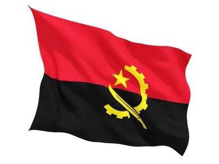 angola: Waving flag of angola isolated on white