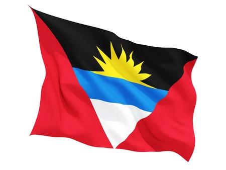 antigua flag: Waving flag of antigua and barbuda isolated on white