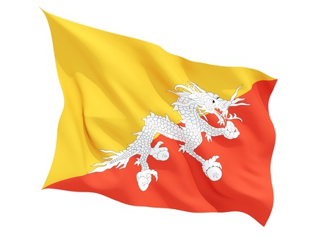 bhutan: Waving flag of bhutan isolated on white