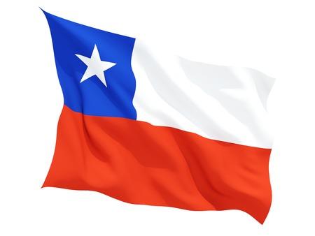 Wapperende vlag van Chili op wit wordt geïsoleerd Stockfoto