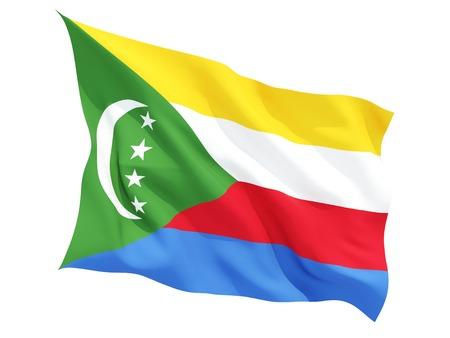 comoros: Waving flag of comoros isolated on white