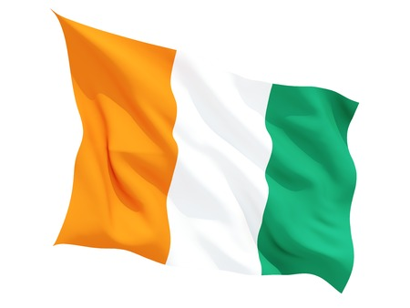 cote ivoire: Waving flag of cote d Ivoire isolated on white