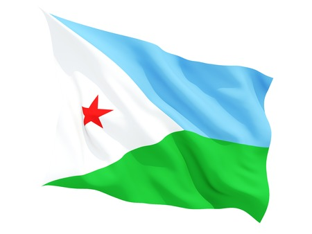 flutter: Waving flag of djibouti isolated on white