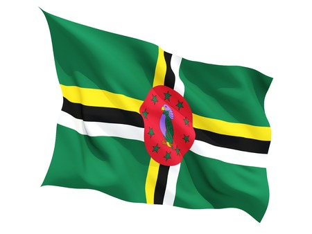 dominica: Waving flag of dominica isolated on white