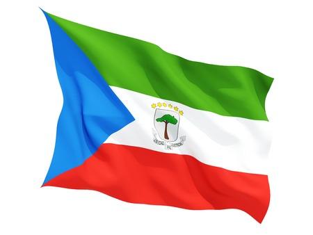 Ondeando la bandera de Guinea Ecuatorial aislado en blanco