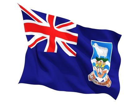 falkland: Waving flag of falkland islands isolated on white