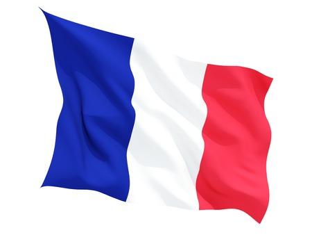 flutter: Waving flag of france isolated on white