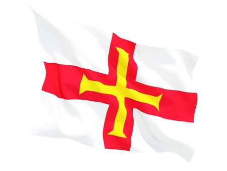 guernsey: Waving flag of guernsey isolated on white