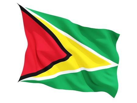 Guyana: Waving flag of guyana isolated on white