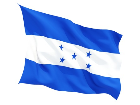Waving flag of honduras isolated on white photo
