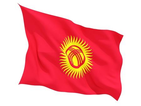 kyrgyzstan: Ondeando la bandera de kirguistán aislado en blanco