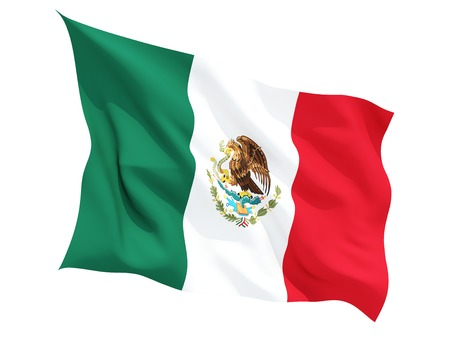 mexico background: Waving flag of mexico isolated on white