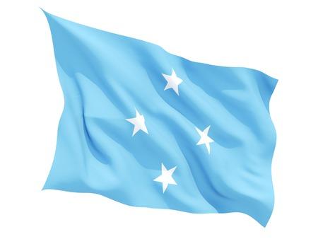 micronesia: Waving flag of micronesia isolated on white