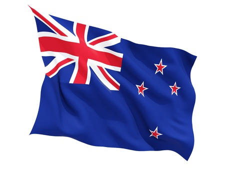Waving flag of new zealand isolated on white