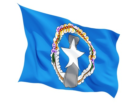 mariana: Waving flag of northern mariana islands isolated on white
