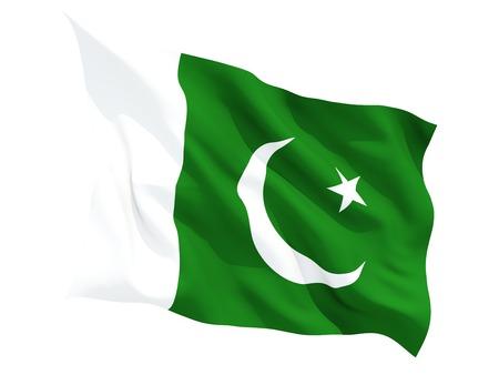Pakistan: Waving flag of pakistan isolated on white Stock Photo