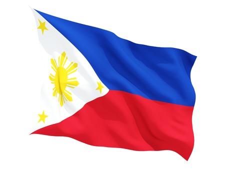 bandera blanca: Ondeando la bandera de filipinas aislado en blanco