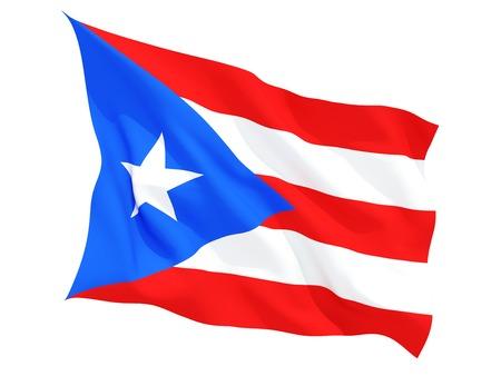 bandera de puerto rico: Ondeando la bandera de Puerto Rico aislado en blanco