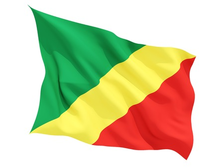 Congo: Waving flag of republic of the congo isolated on white