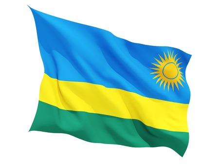 rwanda: Waving flag of rwanda isolated on white