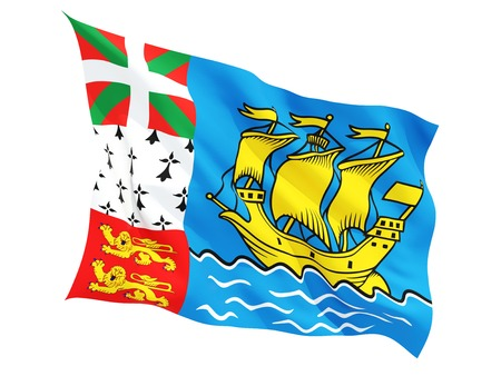 pierre: Waving flag of saint pierre and miquelon isolated on white Stock Photo