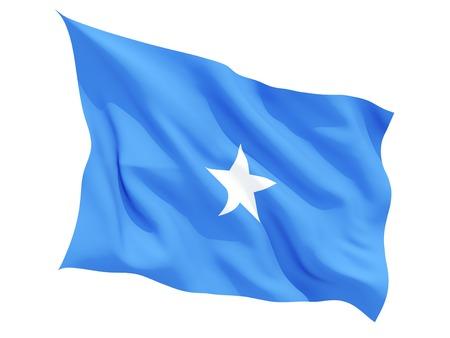 somalia: Waving flag of somalia isolated on white