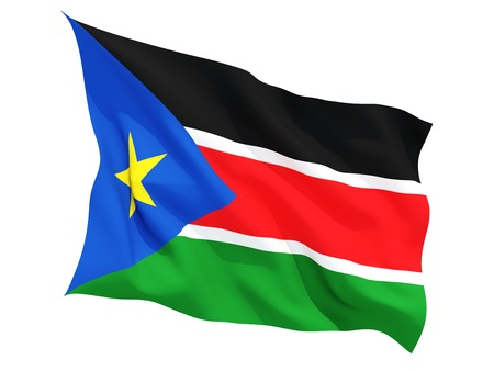 south sudan: Waving flag of south sudan isolated on white