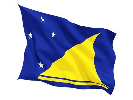 tokelau: Waving flag of tokelau isolated on white