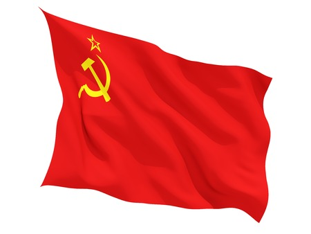 the ussr: Waving flag of ussr isolated on white Stock Photo