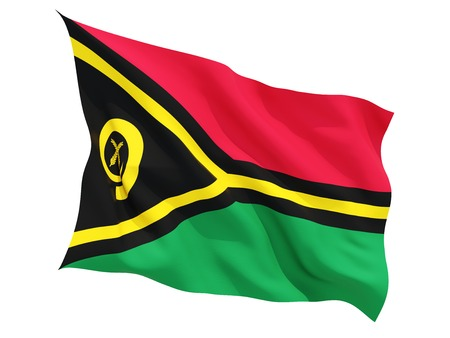 vanuatu: Waving flag of vanuatu isolated on white