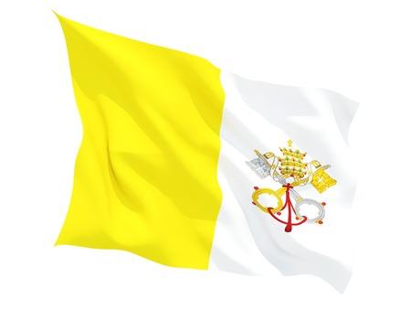 ciudad del vaticano: Ondeando la bandera de la ciudad del vaticano aislado en blanco Foto de archivo