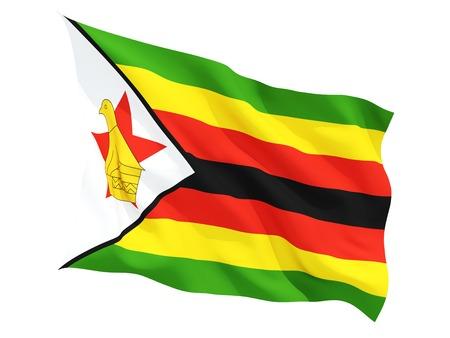 zimbabwe: Ondeando la bandera de Zimbabwe aislado en blanco Foto de archivo