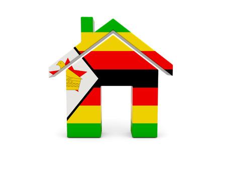zimbabwe: Inicio con la bandera de Zimbabwe aislado en blanco