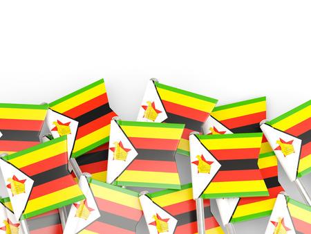 zimbabwe: pin de la bandera de Zimbabwe aislado en blanco