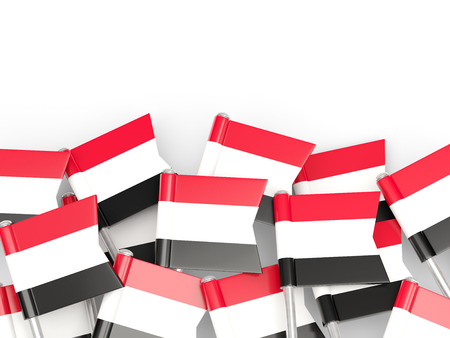 yemen: Flag pin of yemen isolated on white
