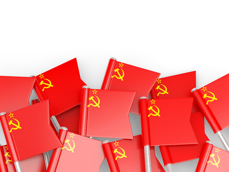 Flag pin of ussr isolated on white
